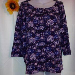 Rafaella Sz 3X Purple Floral Top